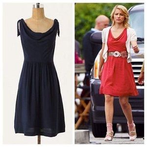 Maeve 'Tied Down' Cowl Neck Shoulder Tie Dress